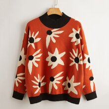 Pullover mit Kontrast Saum und Blumen Muster