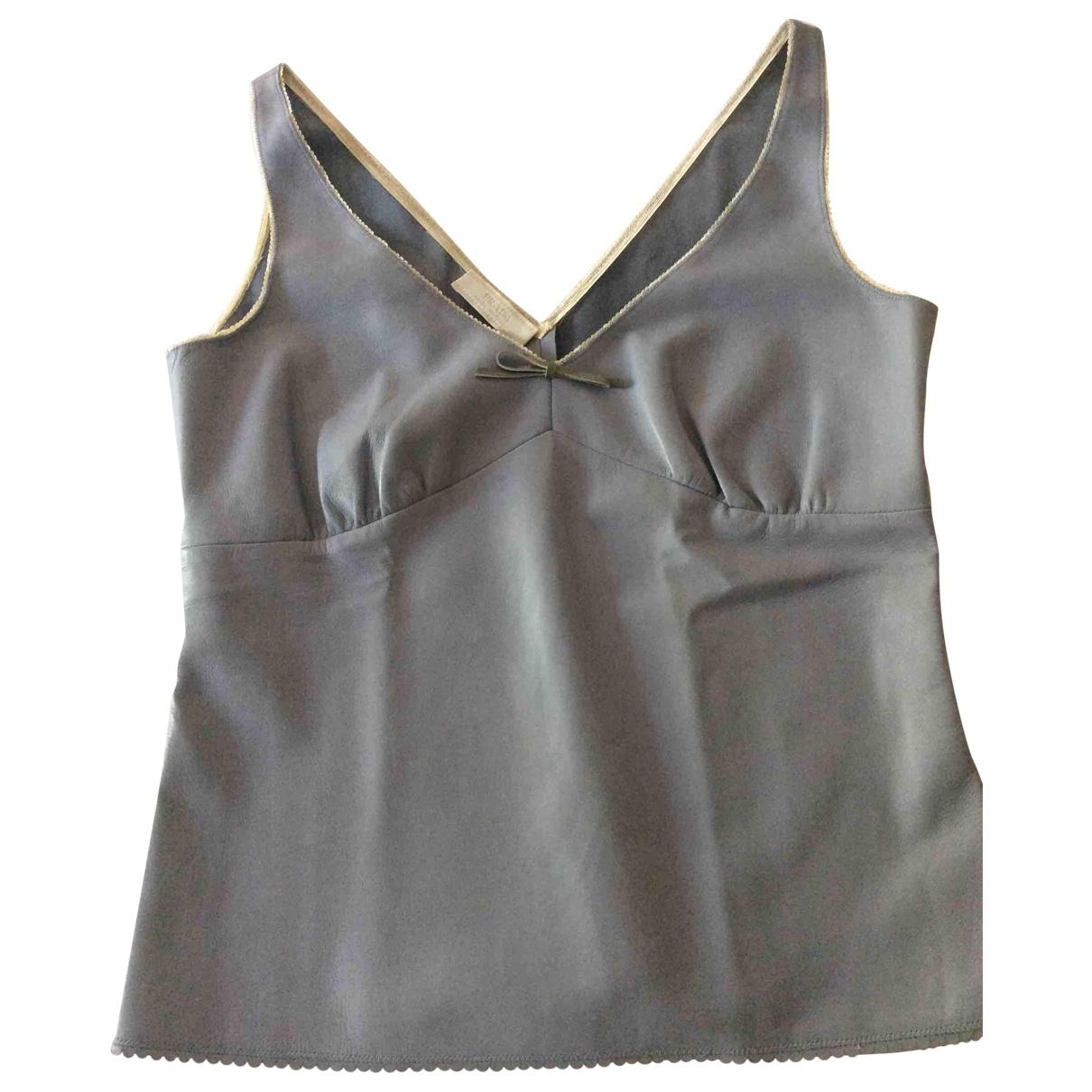 Prada \N Blue Leather  top for Women 44 IT