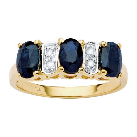 Womens Diamond Accent Genuine Blue Sapphire 18K Gold Over Silver Cocktail Ring, 7 , No Color Family