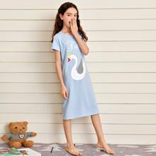 Girls Swan And Letter Graphic Night Dress