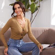 Button Up Solid Rib-knit Cardigan