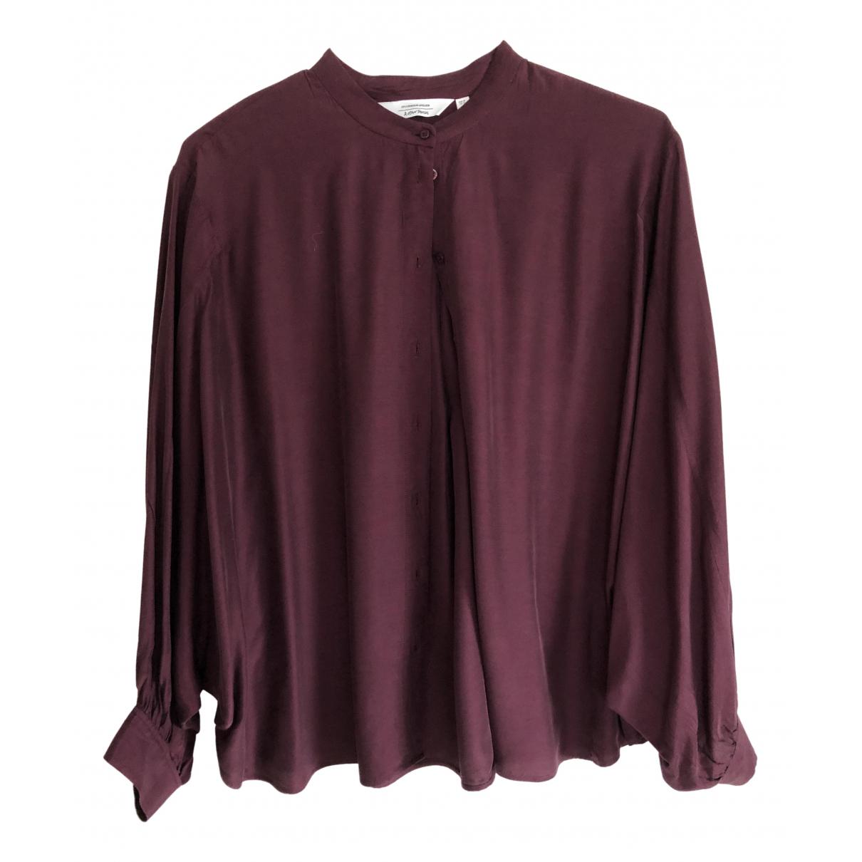& Stories N Burgundy Silk  top for Women 44 FR