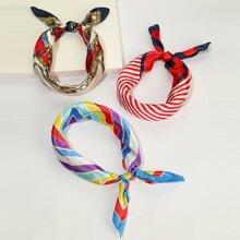 3 piezas pañuelo de saten con patron de rayas