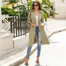 Drawstring Detail Belted Trench Coat