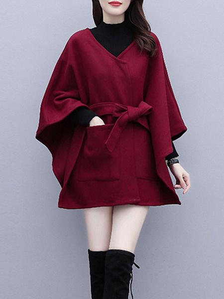 Milanoo Women Poncho Coat Fur Designed Neckline Burgundy Oversized Faux Fur Cape