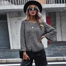 Pullover mit Schlitz und Stufensaum