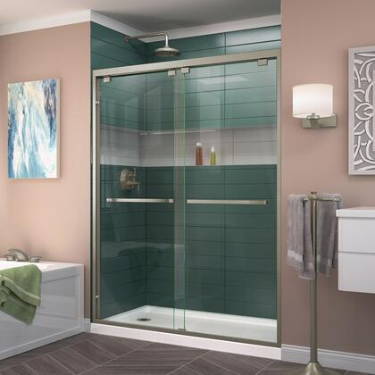 DL-7004L-04 Encore 30 D X 60 W Semi-Frameless Bypass Shower Door In Brushed Nickel With Left Drain White Acrylic