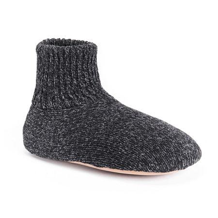 MUK LUKS Ragg Wool Slipper Sock, Medium , Black