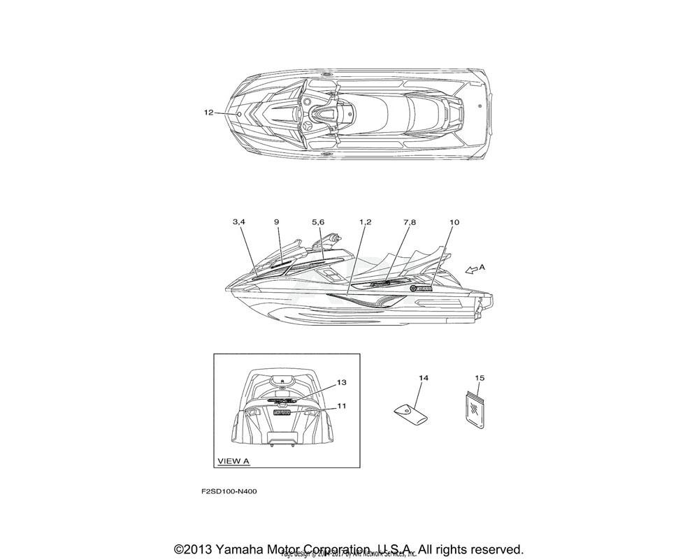 Yamaha OEM F2S-U417E-80-00 GRAPHIC 4 (RH)