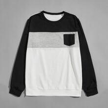 Sweatshirt mit Kontrast Einsatz und Taschen Flicken