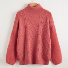 Turtle Neck Mixed Knit Fuzzy Sleeve Sweater