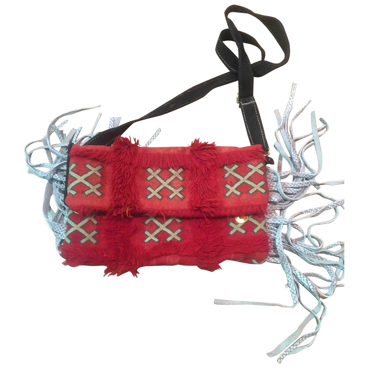 Non Signe / Unsigned Hippie Chic Handtasche in  Rot Baumwolle