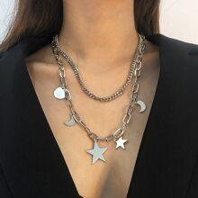 2 piezas collar con diseño de estrella y luna