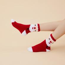 Christmas Santa Claus Pattern Fuzzy Socks