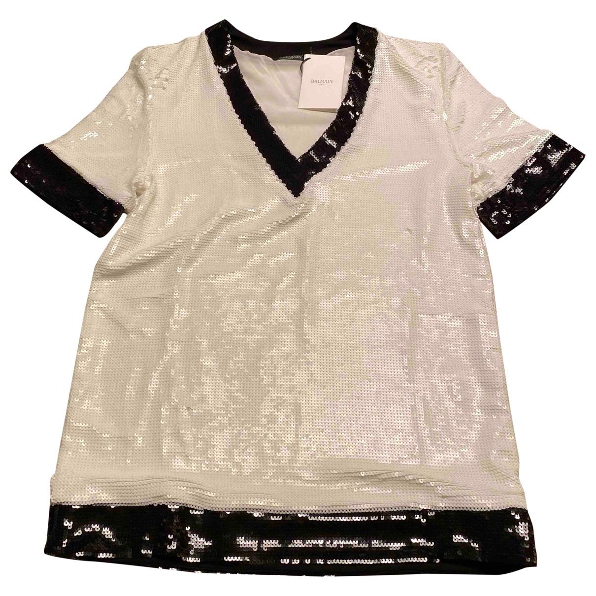 Balmain - Pull   pour femme en soie - blanc