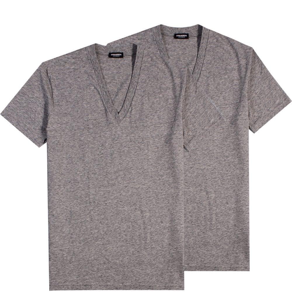 Dsquared2 Underwear Basic V Neck T-Shirt Grey Colour: GREY, Size: SMALL