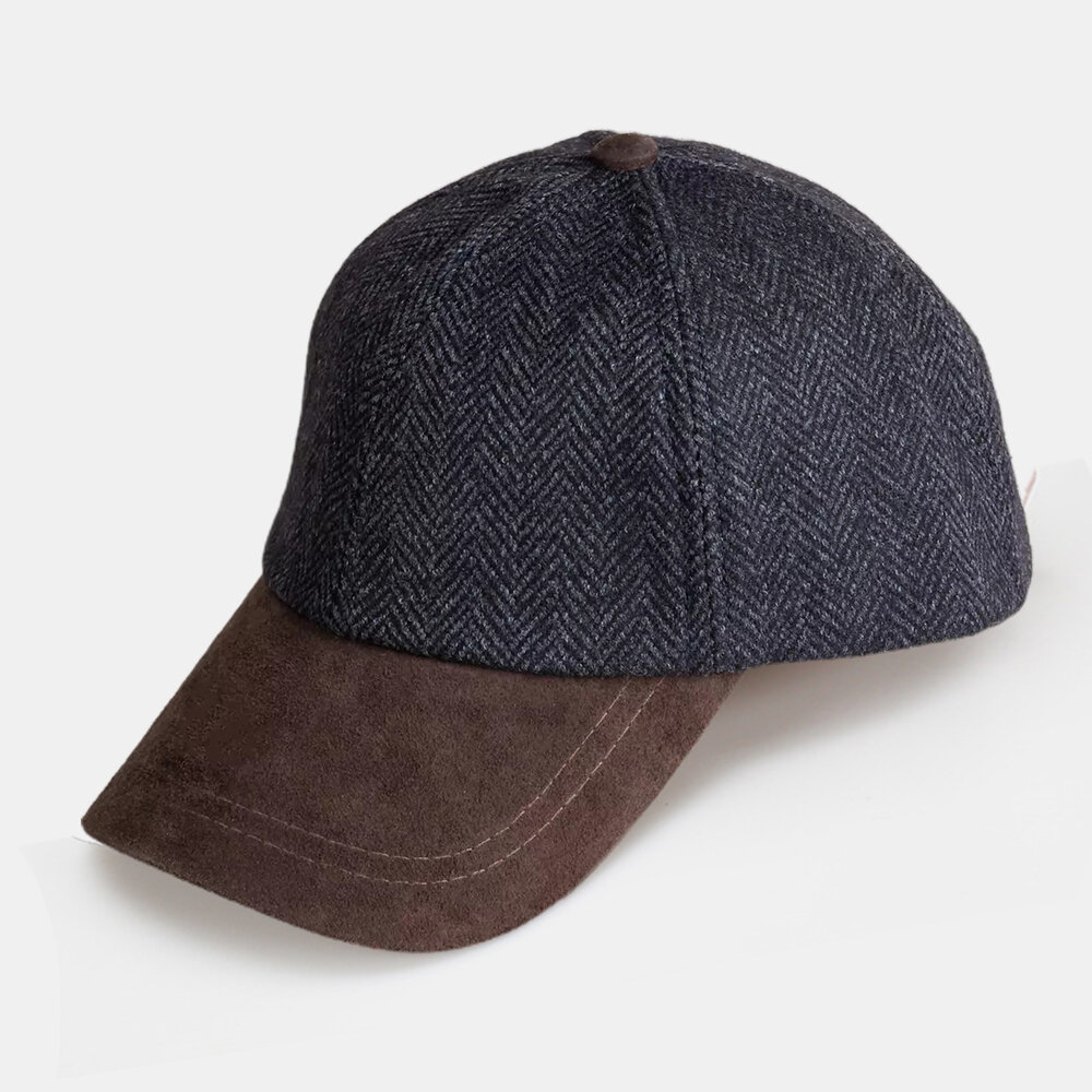 Men Wool And Suede Contrast Color Curve Brim Daily Outdoor Baseball Cap