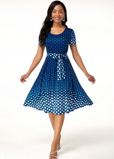 Party Dress Belted Polka Dot Print Short Sleeve Dress - 12