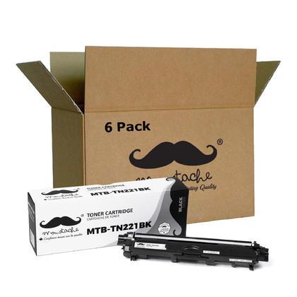Compatible Brother TN221 cartouche de toner noire (TN221BK) de Moustache, 6 paquet - haut rendement