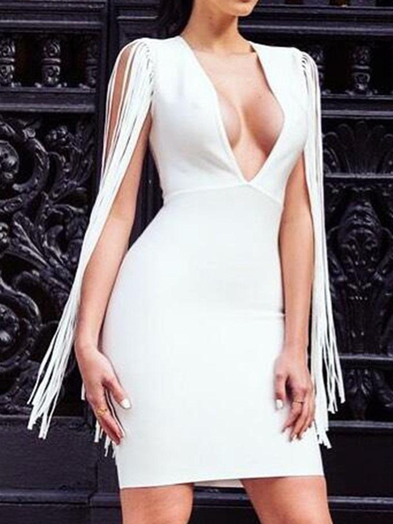 Ericdress V-Neck Sleeveless Tassel Women's Pullover Dress