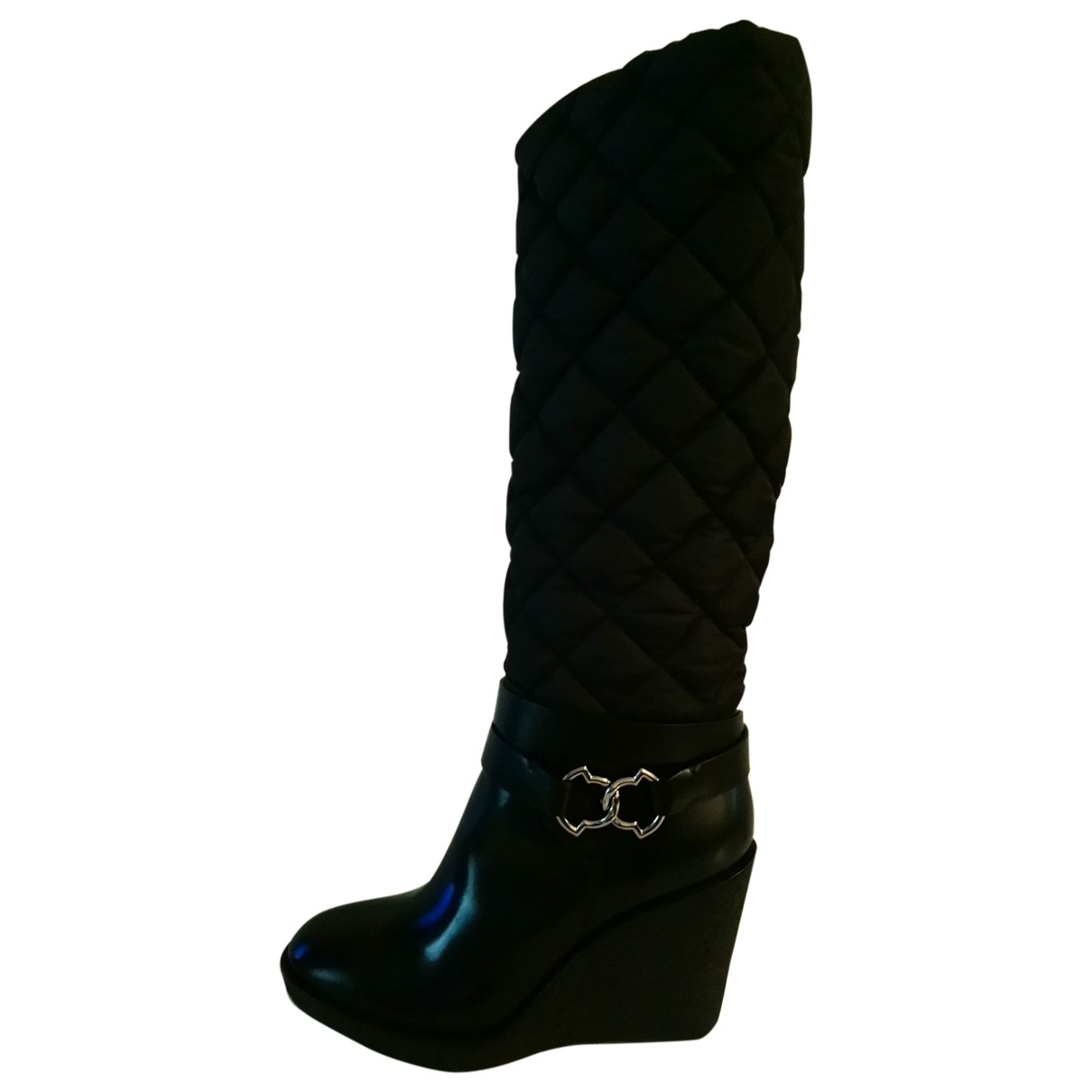 Moncler \N Black Leather Boots for Women 40 EU