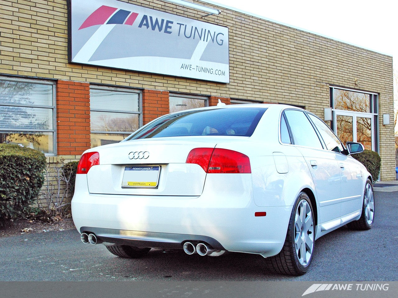 AWE Tuning 3040-42010 Track Edition Quad Tip Exhaust System Polished Silver Tips Audi B7 A4 3.2L 06-08