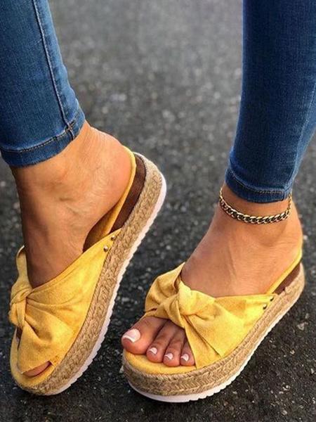 Milanoo Shoes Wedge Sandals Yellow Nubuck Women\'s Summer Shoes