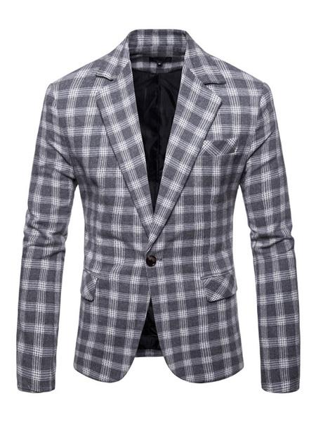 Milanoo Men Casual Blazer Notch Collar Plaid One Button Grey Blazer Jacket