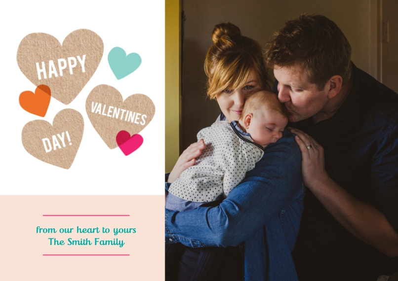 Valentine's Cards Flat Matte Photo Paper Cards with Envelopes, 5x7, Card & Stationery -Hearts Valentine's Day