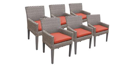 Monterey Collection MONTEREY-TKC297b-DC-3x-C-TANGERINE 6 Dining Chairs With Arms - Beige and Tangerine