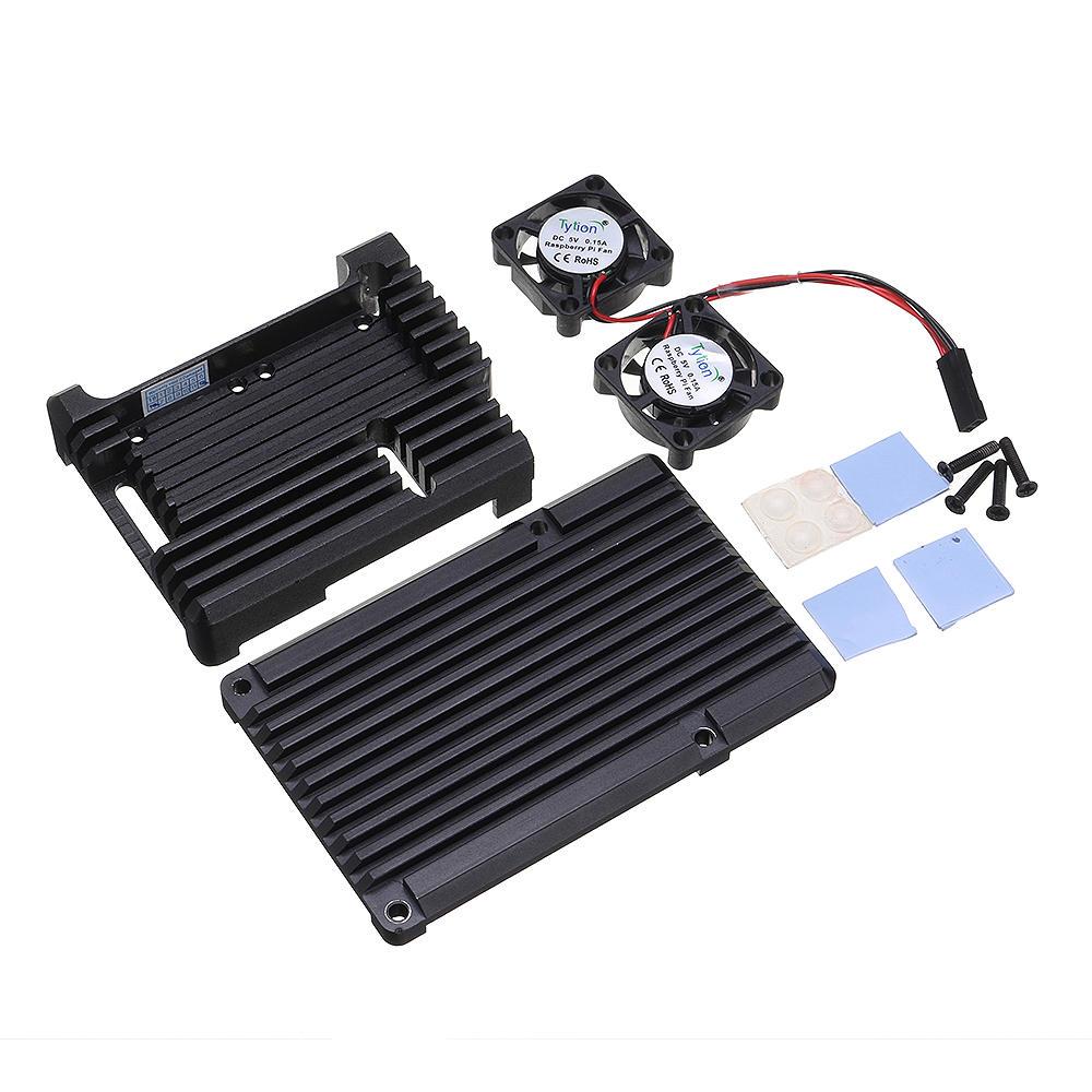 CNC V3 Aluminum Alloy Armor Protective Case + Dual Cooling Fan Kit For Raspberry Pi 3 Model B / 3B+(Plus)