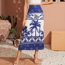 Tropical Print Zip Back Skirt
