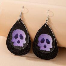 Halloween Ohrringe mit Schaedel Muster