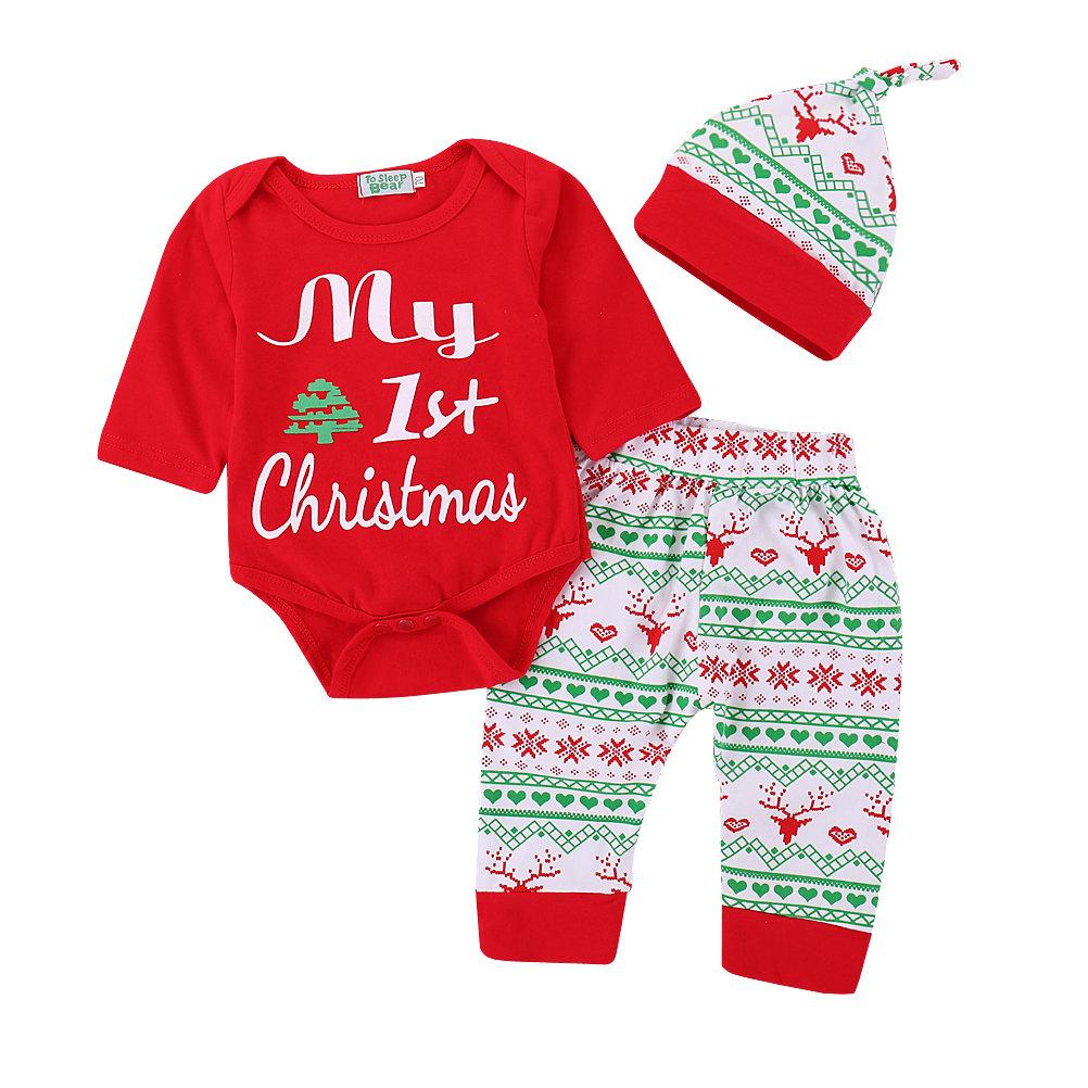 3Pcs Christmas Print Girls Tops +Pants +Hat Set For 0-36M