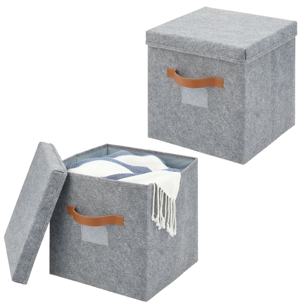 Felt Cube with Lid, Pack of 2 -  in Gray/Tan, 11.8 x 11.8 x 6.3, by mDesign