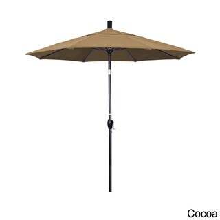 California Umbrella 7.5 Rd. Aluminum Market Umbrella, Crank Lift with Push Button Tilt, Black Finish, Sunbrella Fabric (Cocoa)