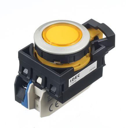 Idec , CW Illuminated Yellow Flush Push Button, NO, 22mm Momentary Screw