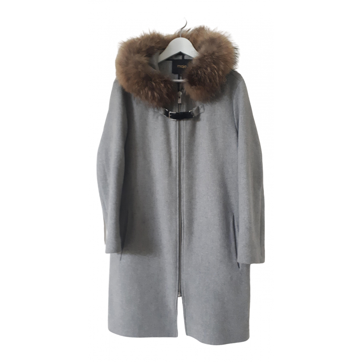 Maje N Grey Wool coat for Women 40 FR