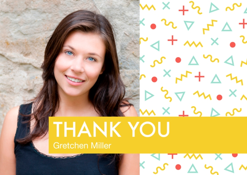 Thank You 5x7 Cards, Premium Cardstock 120lb with Elegant Corners, Card & Stationery -Memphis Pattern Thank You