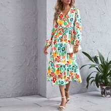 All Over Floral Print Ruffle Hem Belted Dress