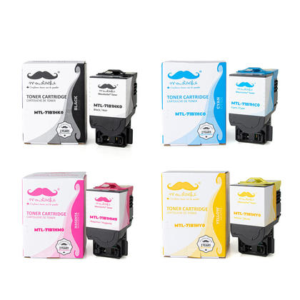Lexmark 71B1H Compatible Toner Cartridge Combo High Yield BK/C/M/Y - Moustache®