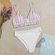 Stripe Frill Hem Bikini Swimsuit