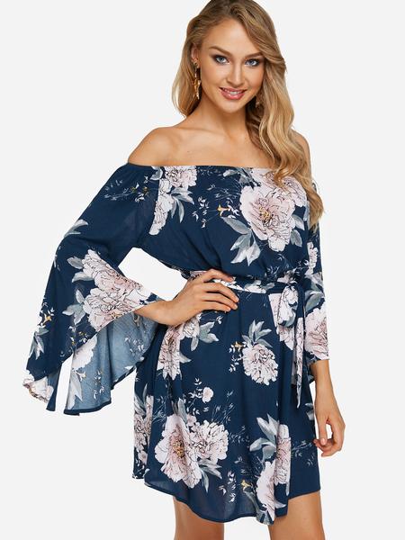 Yoins Navy Belt Design Random Floral Print Off The Shoulder Flared Sleeves Dress