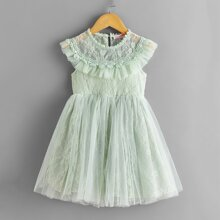 Toddler Girls Contrast Lace Keyhole Back Tulle Dress