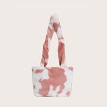 Cow Pattern Fluffy Shoulder Bag