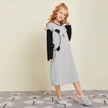 Girls Panda Print Colorblock Nightdress