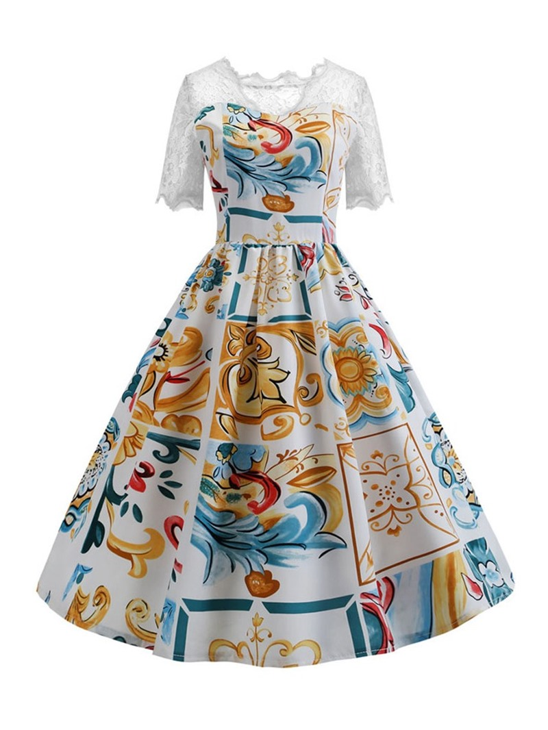 Ericdress Print V-Neck Short Sleeve Color Block Fashion Dress