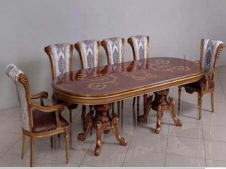 Maggiolini Collection Luxury 11 Pieces Set with 1 Dining Table + 2 Arm Chair + 8 Side Chair  in Antique Silver and Natural