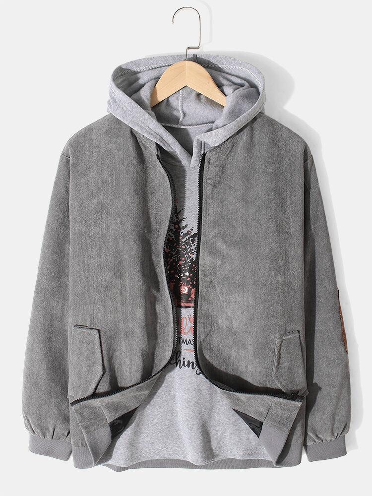 Mens Retro Leather Look Patchwork Casual Zipper Loose Varsity Jacket