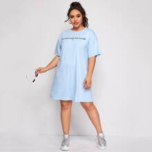 Plus Slogan Graphic Tee Dress